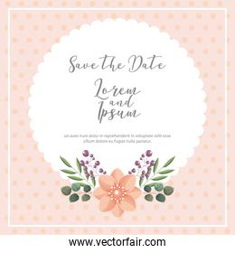 flower leaves decoration dotted background save the date wedding card