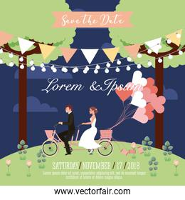 wedding couple riding in tandem bike balloons park save the date card
