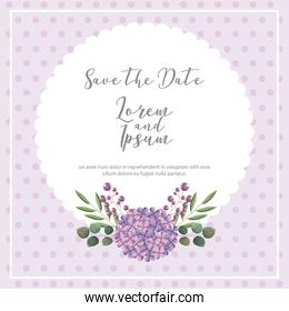 save the date poster with flower natural decoration
