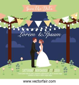 couple wedding holding hands in park save the date card