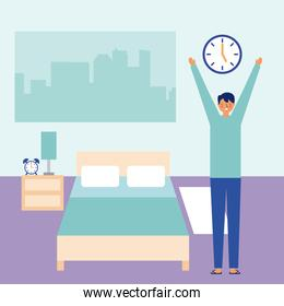 man stretching waking up in the room