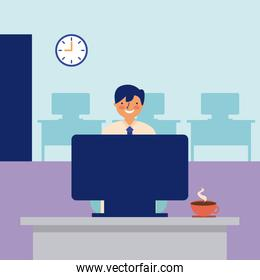 smiling man working office daily activity