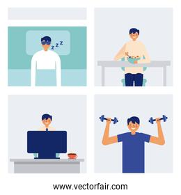 daily activity man sleeping eating and exercise