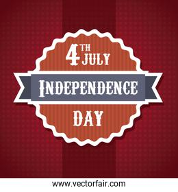 independence day illustration over red background vector