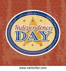 independence day label over red background vector