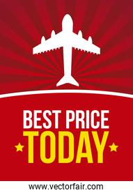 best price with airplane over vintage background vector illustra