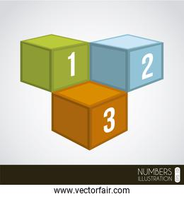 cubic numbers over gray background vector illustration