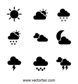 weather icons over white background vector illustration