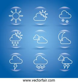 weather icons over blue backgrounds vector illustration