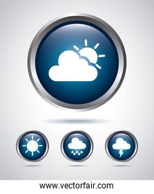 icons types of weather  over gray background vector illustration