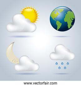 weather icons over blue background vectro illustration
