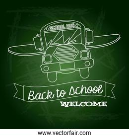 ribbon back to school welcome over green background vector illus