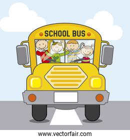 bus school over sky background vector illustration