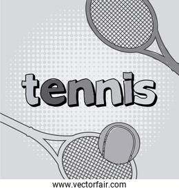 tennis icon with ball and racket vector illustration