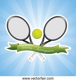 tennis champions over blue background vector illustration