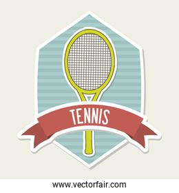 tennis emblem over cream background vector illustration