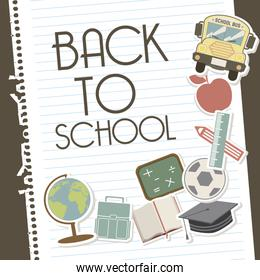 back to school over leaves notebook background vector illustrati