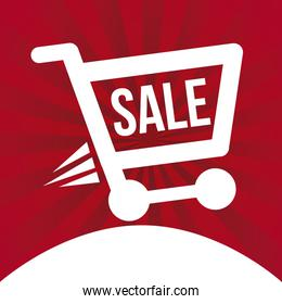 shopping  cart  over red background vector illustration