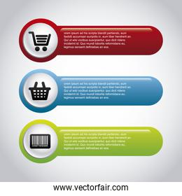 infographics shopping over gray background vector illustration