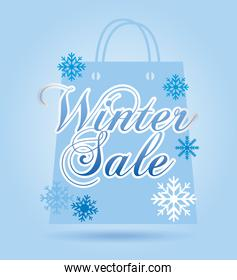 winter sale over blue background vector illustration