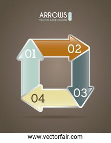 arrows infographics over brown  background vector illustration