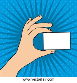 hand whit card over blue background vector illustratlion