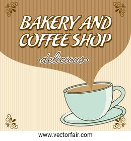 bakery and coffee over lineal  background vector illustration