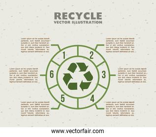 recycle infographics with arrow over pattern background