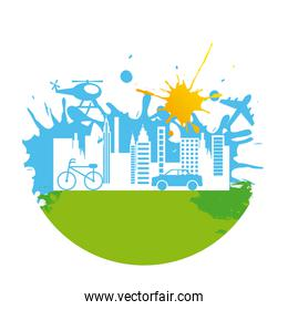 city geen over white background vector illustration