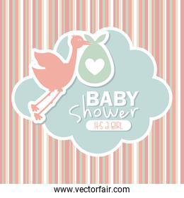 baby shower design over lineal background vector illustration