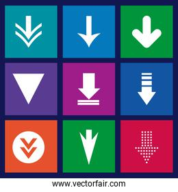 arrows design over blue background vector illustration