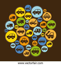 cars over brown background vector illustration