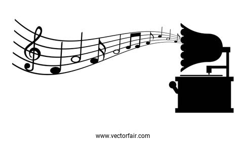 gramophone with musical notes conceptual image Vector illustrati