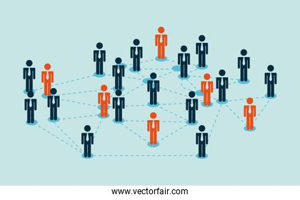 business people over blue background vector illustration