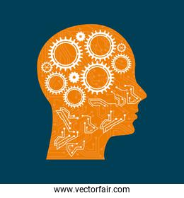 Gears in head profile over blue background