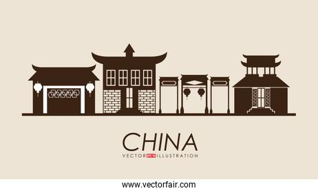 China design over yellow background vector illustration