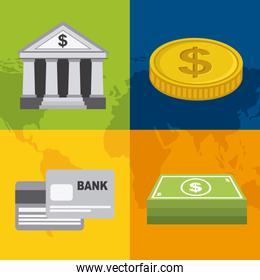 Bank design over colorful background vector illustration