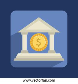 Bank design over blue background vector illustration