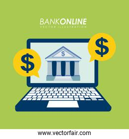 Bank design over green background vector illustration