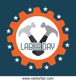 Labor day design over blue background vector illustration