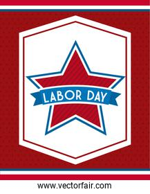 labor day over red background vector illustration