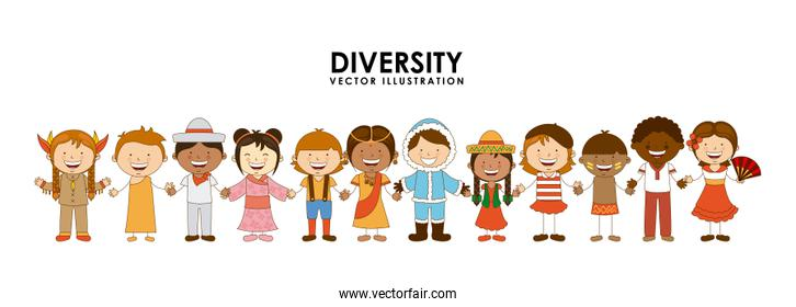 diversity of races over white background vector illustration