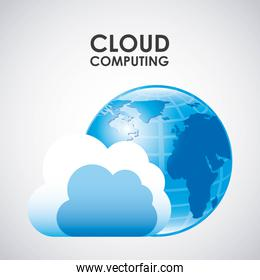 cloud computing over background vector illustration