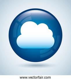 cloud computing over white background vector illustration