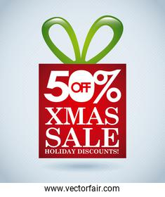 christmas giftbox with 50 off xmas sale lettering