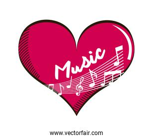 heart with music notes isolated icon