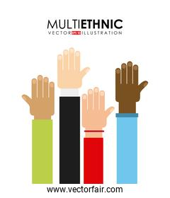 multiethnic and hands of different ethnicities