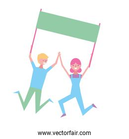 young couple people jump holding placard empty