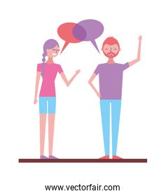 couple talking and discussing character with speech bubbles