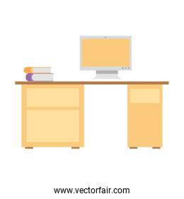 office desk with computer and stack books